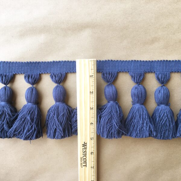 5in Chunky Tassel Fringe-Navy ruler
