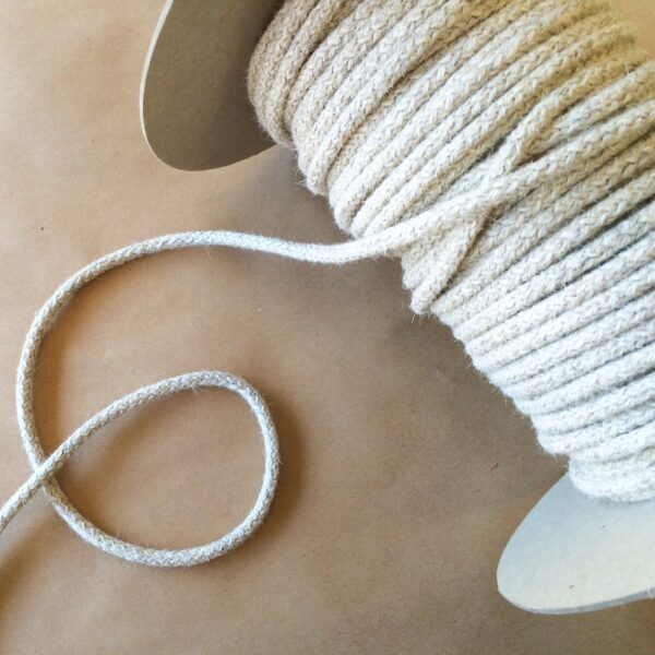 .25 in Knit Braided Cord-Natural Wool