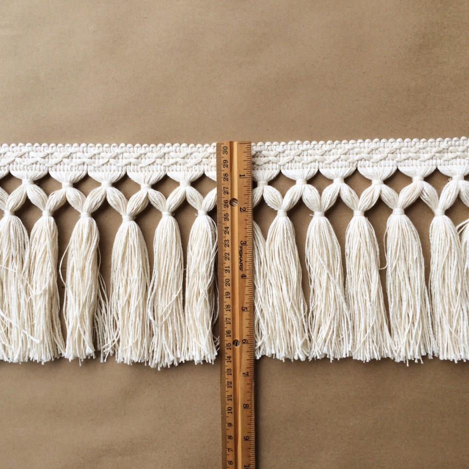 Diamond Double Knot Fringe 6.5-Natural Cotton ruler