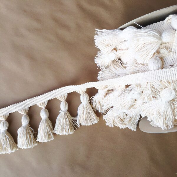 5in Chunky Tassel Fringe-Natural Cotton