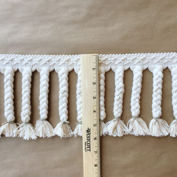 Moroccan Braided Fringe 6in-Linen ruler